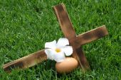 Wooden Cross on side with Egg