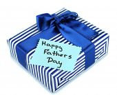 Happy Fathers Day tag with gift box, isolated on white