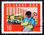 Postage Stamp Gdr 1964 Steel Worker, Factory