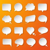 Modern paper speech bubbles set on orange background for web, banners, layouts, mobile applications