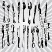Forks and Spoons Hand Drawn