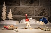Wine Cork Figures, Concept Children With A Snowball Fight