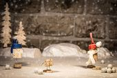 Wine Cork Figures, Concept Fun With Snowball Fight