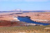 stock photo of semi-arid  - Southern Utah Colorado river and red rocks landscape - JPG
