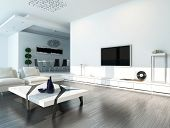 White living room interior with modern furniture
