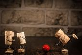 stock photo of midget  - Concept playing soccer with wine cork figures - JPG