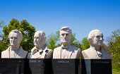 HOUSTON, TEXAS - MARCH 23: Mount Rush Hour in Texas by Sculptor David Adickes with busts of George W