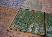 HOLLYWOOD, CALIFORNIA - APRIL 12, 2013: Clark Gable handprints and shoe footprints on Hollywood Walk