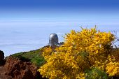 LA PALMA, CANARY ISLANDS, SPAIN - JULY 13, 2012: Nordic Optical telescope in sea of cluds at ORM obs