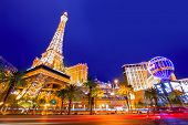 LAS VEGAS - APRIL 17, 2013: the Paris Las Vegas hotel and casino night view in the famous Strip with