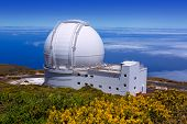 LA PALMA, CANARY ISLANDS, SPAIN - JULY 13, 2012: William Herschel telescope in a sunny day blue sky