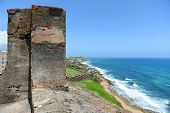 Fort San Cristobal overlooking beach in San Juan Puerto Rico