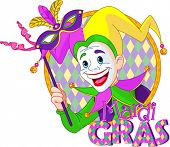 Cartoon design of Mardi Gras Jester holding a mask