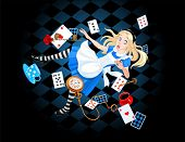 stock photo of rabbit hole  - Alice is falling down into the rabbit hole - JPG