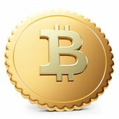 stock photo of bit coin  - 3d close - JPG