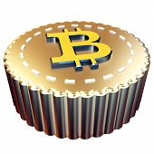 3D Bitcoin Button Digital Currency