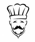Stylized black and white chef icon