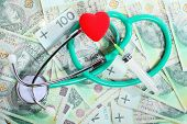 Cost Of Health Care: Stethoscope Red Heart Polish Money