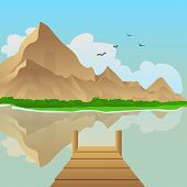 pic of dock a lake  - Summer landscape vector illustration with lake and mountain in background - JPG