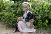 stock photo of hmong  - Portrait Asian woman Laos Hmong in front of nature - JPG