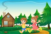 stock photo of playmate  - Illustration of the kids playing outside the wooden house at the hilltop - JPG