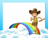 Illustration of an empty template and a boy running over the rainbow with a scroll