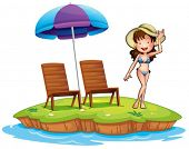 Illustration of an island with a young girl swimming on a white background