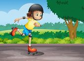 Illustration of a young girl rollerskating at the street