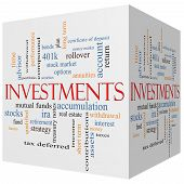Investments 3D Cube Word Cloud Concept