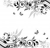 Floral banner (black and white)