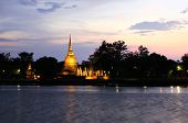 Sukhothai Historical Park At Twilight, The Old Town Of Thailand In 800 Year Ago