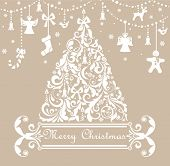 picture of tree trim  - Christmas pastel greeting card - JPG