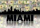 Miami skyline reflected with dollars illustration