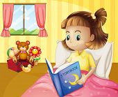 Illustration of a small girl reading a storybook inside her room