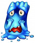 picture of horrifying  - Illustration of a horrified blue monster on a white background - JPG