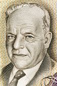 ISRAEL - CIRCA 1968: Hayim Nahman Bialik (1873-1934) on 10 Lirot 1968 Banknote from Israel. Jewish p