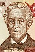 NICARAGUA - CIRCA 1985: Jose Dolores Estrada Vado (1792-1869) on 50 Cordobas 1985 Banknote from Nicaragua. Nicaraguan national hero.