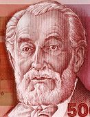 ISRAEL - CIRCA 1982: Edmond James de Rothschild (1845-1934) on 500 Sheqalim 1982 Banknote from Israel. French member of the Rothschild banking family and strong supporter of Zionism.
