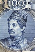 GREECE- CIRCA 1944: Constantine Kanaris (1793-1877) on 100 Drachmai 1944 Banknote from Greece. Greek