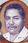 TANZANIA - CIRCA 1987: Ali Hassan Mwinyi (born 1925) on 20 Shilingi 1987 Banknote from Tanzania. President of Tanzania during 1985-1995.