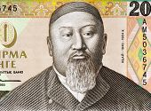 KAZAKHASTAN - CIRCA 1993: Abai Qunanbaiuli (1845-1904) on 20 Tenge 1993 Banknote from Kazakhstan. Kazakh poet, composer and philosopher.