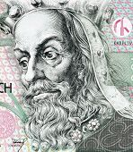CZECH REPUBLIC - CIRCA 1997: Charles IV, Holy Roman Emperor (1316-1378) on 100 Korun 1997 banknote from Czech Republic. First king of Bohemia to also become Holy Roman Emperor.