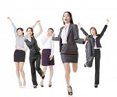 Running business woman lead her excited team, full length portrait of group people isolated on white