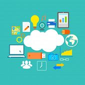 illustration of flat design of technology showing icon in cloud computing concept