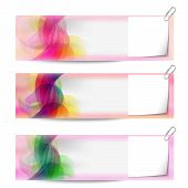 Set Of Three Vector Abstract Banners And Notepaper