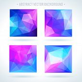 Set of abstract 3D geometric colorful triangle vector background
