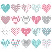 Pink Chevron Polka Dot Heart Shape Pattern