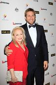 LOS ANGELES - JAN 11:  Jacki Weaver, Curtis Stone at the  2014 G'Day USA Los Angeles Black Tie Gala