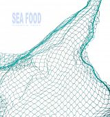 stock photo of fishnet  - Fishing net with space for your text - JPG
