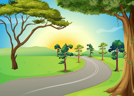 stock photo of long winding road  - Illustration of a long winding road at the forest - JPG
